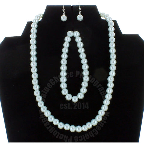 Faux Pearl Necklace Bracelet Earring Set In White Pompcamo