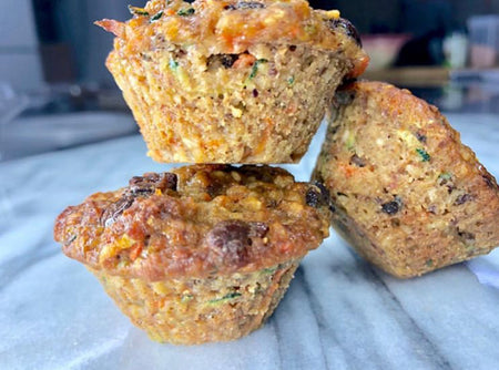 Zucchini carrot chocolate chip muffin-minis
