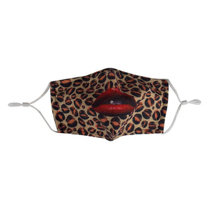 """Red Lips Leopard"" Mask"
