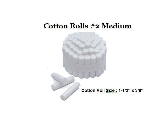 100 pcs Dental COTTON ROLLS #2 MEDIUM