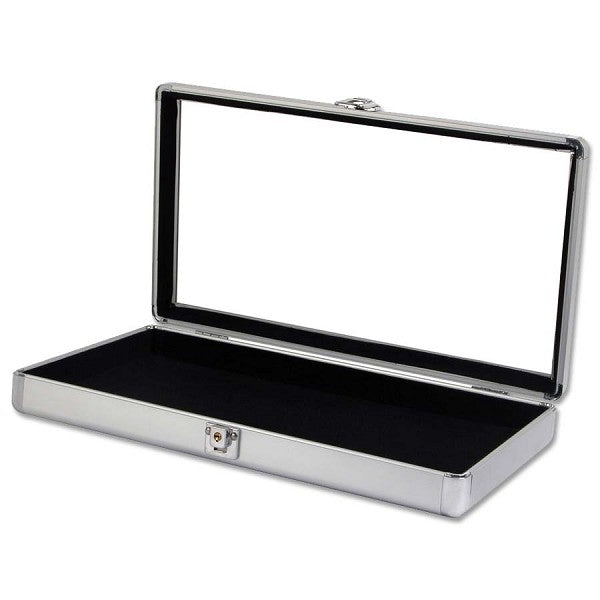 Glass Top Aluminum Jewelry Case with 24 Jar Insert