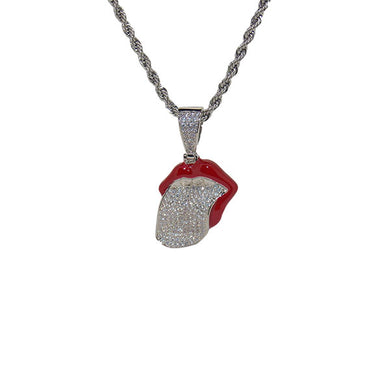 White Gold Plated chain with Red Lips Big Tongue Pendant