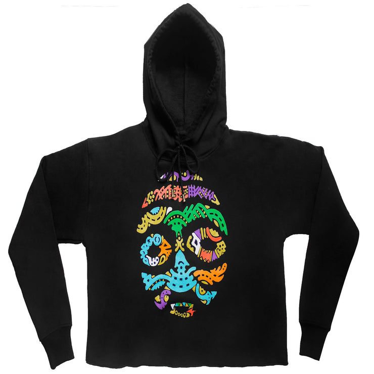 BORNO MAIDUGURI WARRIOR MASK WITH BLACK EYES (LADIES CROPPED FRENCH TERRY HOODIE)