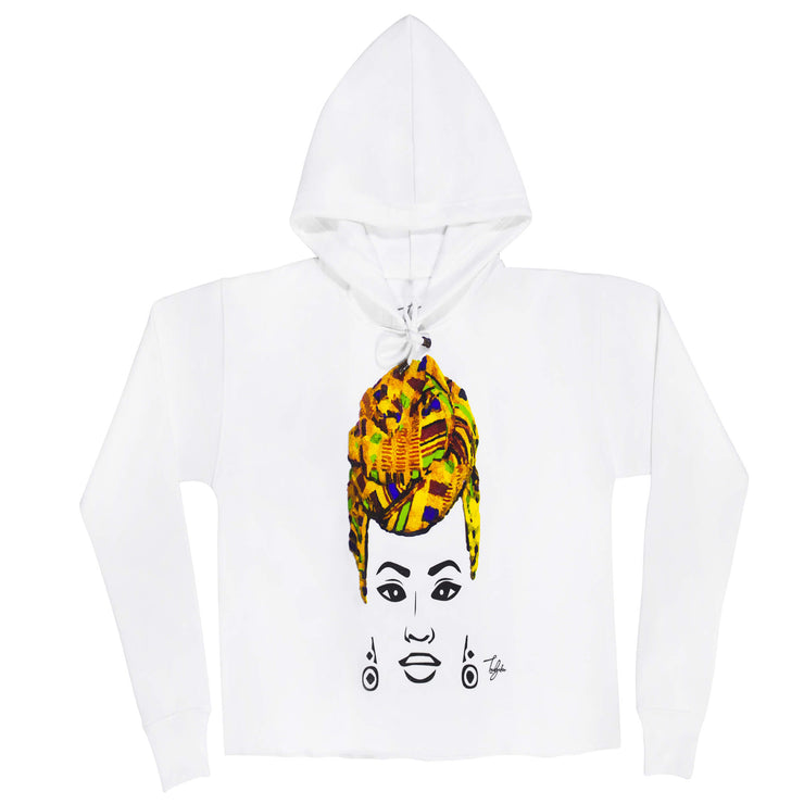 MISS AFRICA WITH TRADITIONAL WEDDING HEAD WRAP (LADIES CROPPED FRENCH TERRY HOODIE)