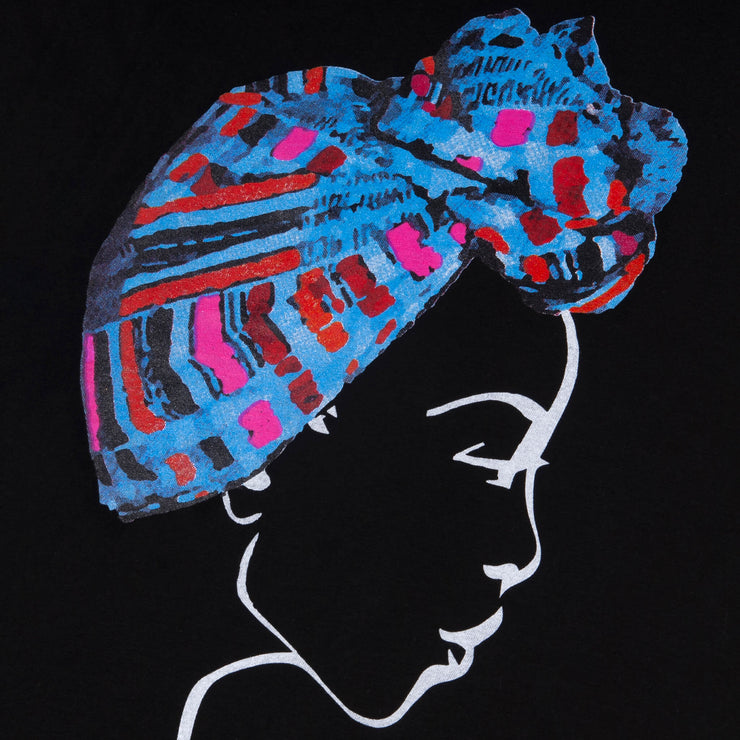 MISS AFRICA WITH TRIBAL TRADITION HEAD WRAP (LADIES SHORT SLEEVE T-SHIRT)