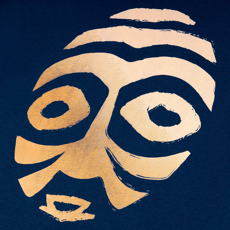 OBUASI GOLD WARRIOR MASK WITH BLACK EYES (UNISEX SHORT SLEEVE T-SHIRT)