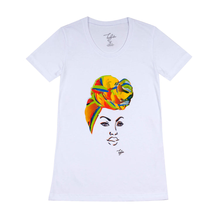 MISS AFRICA WITH BIRTHDAY HEAD WRAP (LADIES SHORT SLEEVE T-SHIRT)