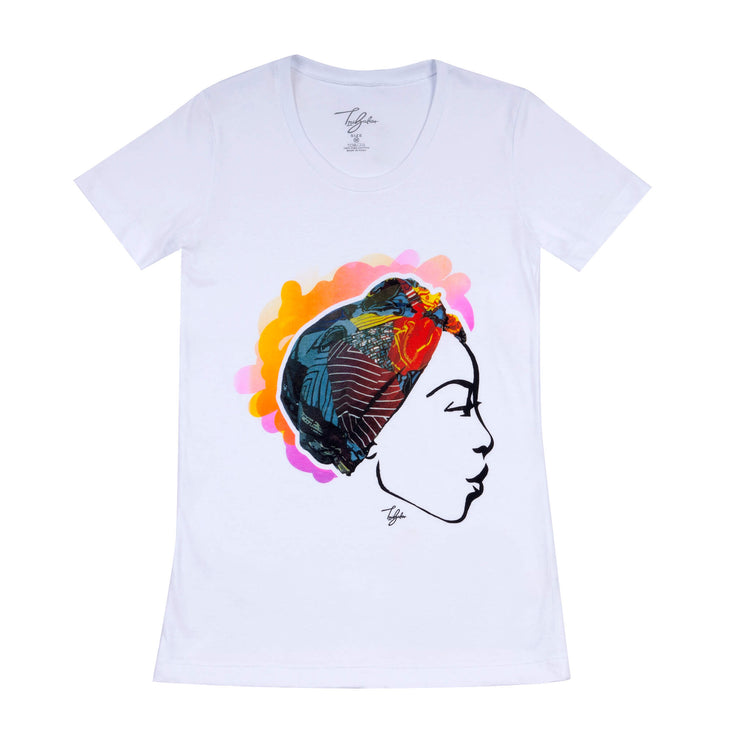 MISS AFRICA WITH MARKET DAY HEAD WRAP (LADIES SHORT SLEEVE T-SHIRT)