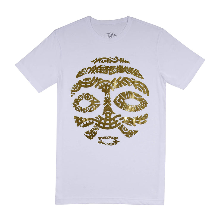 ASHANTI GOLD METTALIC WARRIOR MASK (UNISEX SHORT SLEEVE T-SHIRT)