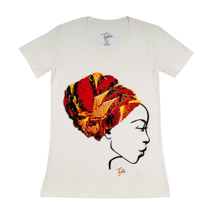 MISS AFRICA WITH CHURCH TRIBAL HEAD WRAP (LADIES SHORT SLEEVE T-SHIRT)