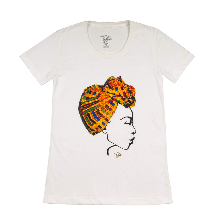 MISS AFRICA WITH TRADITIONAL FESTIVAL HEAD WRAP (LADIES SHORT SLEEVE T-SHIRT)