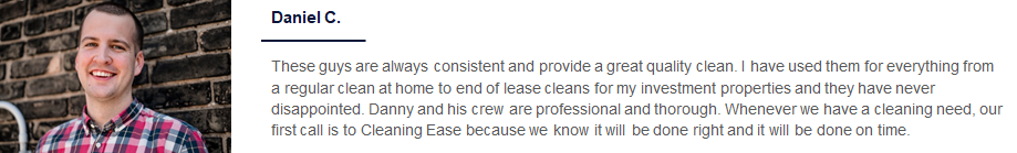 Smiling photo and home cleaning testimonial a man