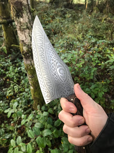 *AVAILABLE* Curvy Beast Chef's Knife, with Monstrous etching and wenge wood handle