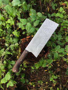 *AVAILABLE* Chinese Cleaver Chef's Knife, Spiral Etching and wenge wood Handle