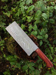 *AVAILABLE* Chinese Cleaver Chef's Knife, Flower mandala etching and Bloodwood Handle