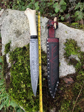 Hand Forged Viking/Germanic Seax, Rune Etched, With Elk Bone Handle And Leather Sheath, By Kempf Forge