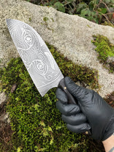 *Hand Made to order* Santoku Chef's Knife, With Face And Eye Etching, By Kempf Forge