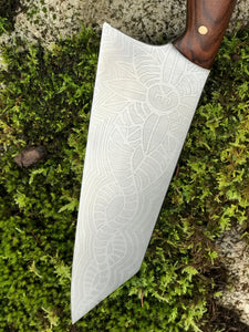 Hand made Bunka Style Chef's Knife, With Alien Tentacle Flower Etching, By Kempf Forge