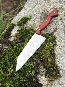Hand Made Bunka Style Chef's Knife With Geometric Etching, By Kempf Forge