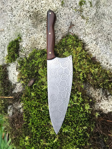 Hand Made French Style Chef Knife, With Abstract Molecule Etching, By Kempf Forge