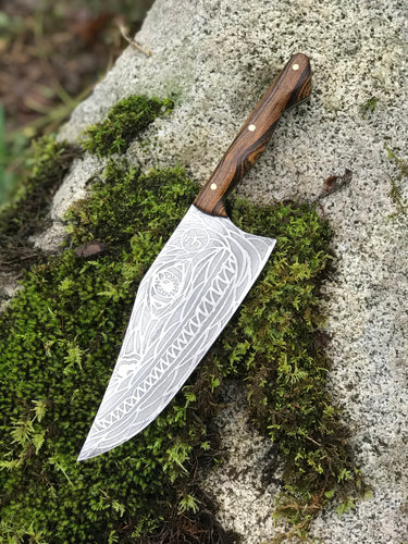 Hand Made Curvy Beast Chef's Knife, With Monster Etching, By Kempf Forge