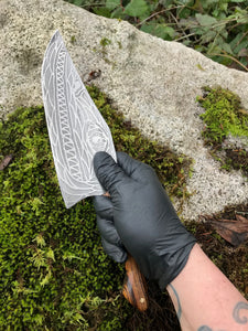 *Hand Made To Order* Curvy Beast Chef's Knife, With Monster Etching, By Kempf Forge