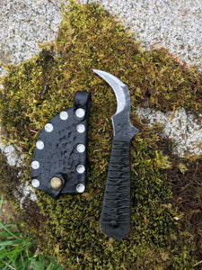 Toad Claw Neck Knife, Harvesting/Mushroom EDC Blade, Dark Green Handle, Black Sheath