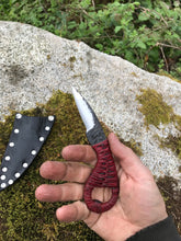 The Maladict Every Day Carry (EDC) Utility Knife With Red Handle and Black Sheath
