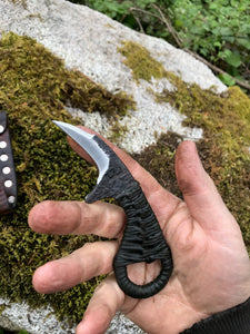 The Frog Knuckle EDC Harvesting Neck Knife with Black Handle and Mottled Brown Sheath