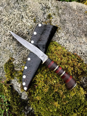 Motorcycle Chain Damascus EDC Knife with Stacked Leather, Wood and Brass Handle