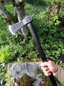 Hand Forged Tomahawk, Bushcrafting Adventure tool! Blackened Hickory handle.