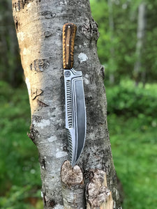 Hand Forged Apocalypse Bowie with deep acid etching and fir tree sheath