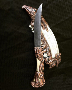 Elk Spirit, Electroplated Bone and Damascus Art Knife, By Kempf Forge