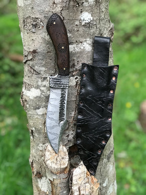 *Available* Fenrir bush knife with dinosaur etching and Wenge handle.