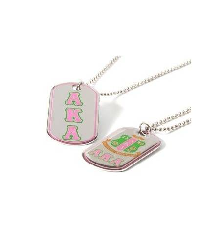 Alpha Kappa Alpha™ Double Sided Greek Letter Dog Tags with epoxy coating -Greek_Paraphernalia - M3 Greek