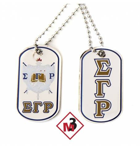 Double Sided Greek Letter Dog Tags with epoxy coating - Sigma Gamma Rho - M3 Greek