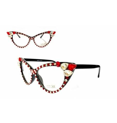 Red/White Cat Eye Crystal Glasses 2 -Greek_Paraphernalia - M3 Greek