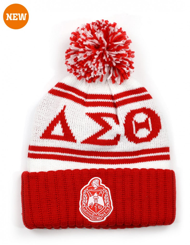 New Pom Pom Beanie - Delta Sigma Theta®️ -Greek_Paraphernalia - M3 Greek