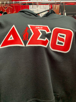 Twill Letter Hoodie with Additional Embroidery  - Delta Sigma Theta®️ -Greek_Paraphernalia - M3 Greek