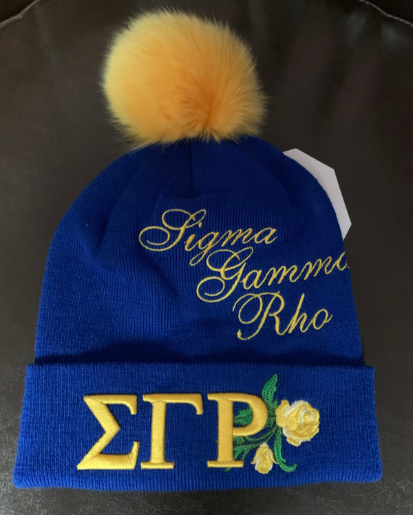 Pom Pom Beanie - Sigma Gamma Rho -Greek_Paraphernalia - M3 Greek