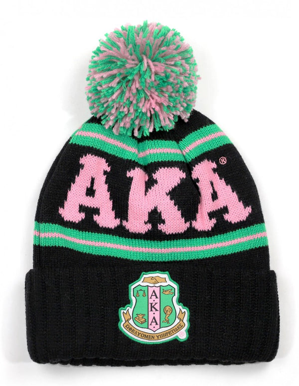 Pom Pom Beanie - Alpha Kappa Alpha®️ -Greek_Paraphernalia - M3 Greek