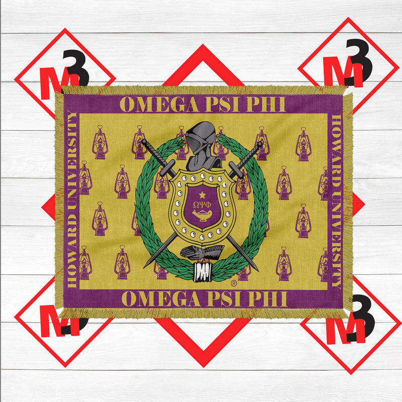 Omega Psi Phi Throw Blanket / Afghan - M3 Greek