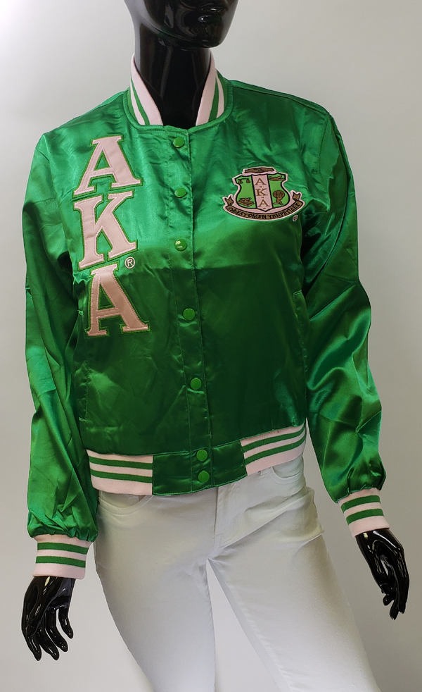 Satin Jacket - Alpha Kappa Alpha®️ -Greek_Paraphernalia - M3 Greek