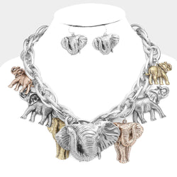 Tri Color/Silver Elephant Statement Necklace/Earring Set OR Bracelet