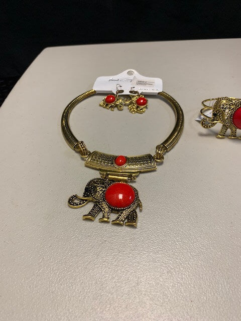 Elephant Statement Necklace Set and Bracelet with Red center stone