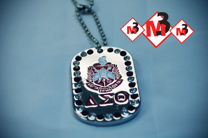 Rhinestone Dog Tags - Delta Sigma Theta®️ -Greek_Paraphernalia - M3 Greek