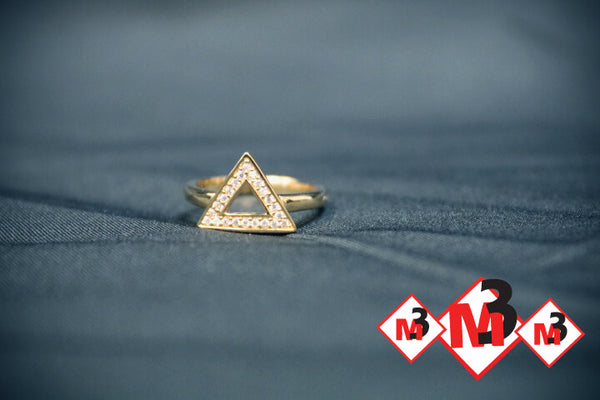 Delta/Triangle Polished Sterling Ring with CZ Stones -Greek_Paraphernalia - M3 Greek