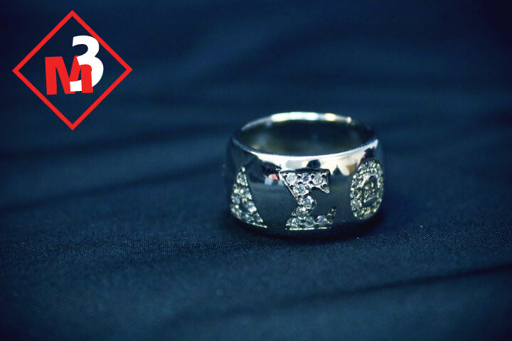 Round Bling Greek Letter Ring - Delta Sigma Theta®️ -Greek_Paraphernalia - M3 Greek
