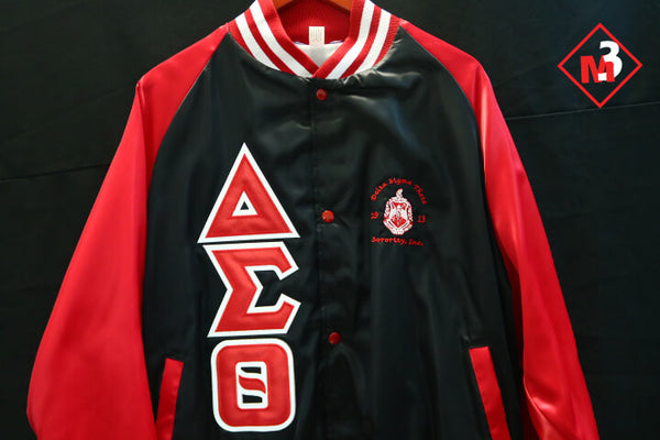 Satin Baseball Jacket - Delta Sigma Theta™ -Greek_Paraphernalia - M3 Greek