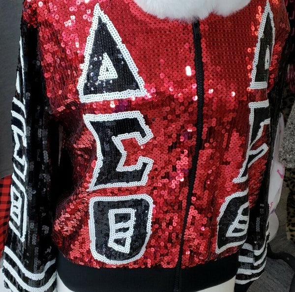 Sequin zip front jacket  - Delta Sigma Theta™ -Greek_Paraphernalia - M3 Greek